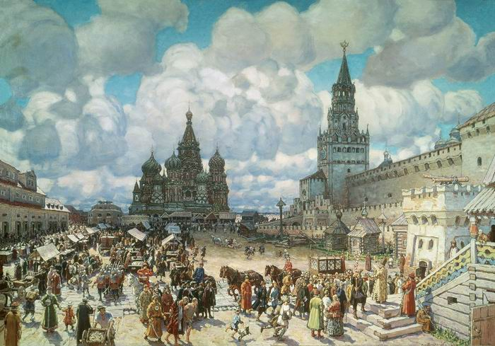 """Tableau d'Appolinariï Vasnetsov, """"La place Rouge à la deuxième moitié du XVIIe siècle"""", 1925"""