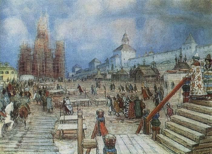 """Tableau d'Appolinariï Vasnetsov, """"La place Rouge sous Ivan le Terrible"""", 1902"""