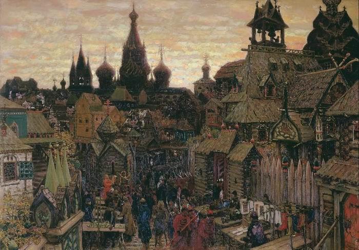"Appolinariï Vasnetsov : ""Une rue dans Kitaï-gorod au début du XVIIe siècle"", 1900"