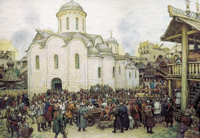 Moscou se défend contre le Khan Tokhtamych en 1382, tableau d'Appolinari Vasnetsov 1918