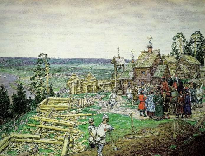 Prince de Souzdal Youri Dolgorouki construit une nouvelle enceinte en 1156. Tableau d'Appolinari Vasnetsov, 1917