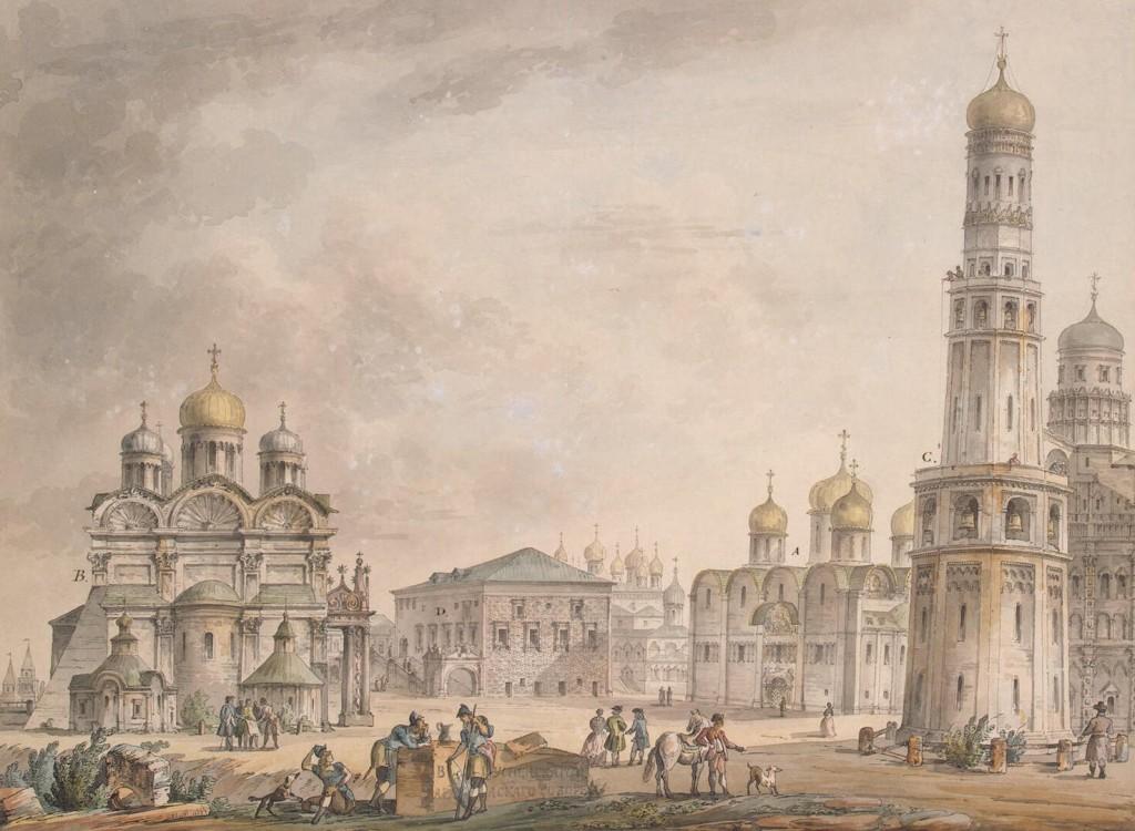 Place des Cathédrales -- 1797 -- un tableau deGiacomo Quarenghi (architecte italien, un des fondateurs de St Petersbourg)