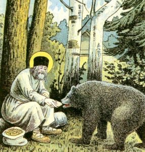 Serafim and a bear 286x300 - Dans la ville de Vladimir. Во Владимире