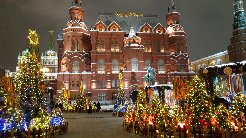 Photo de la place du Manège en hiver à Moscou