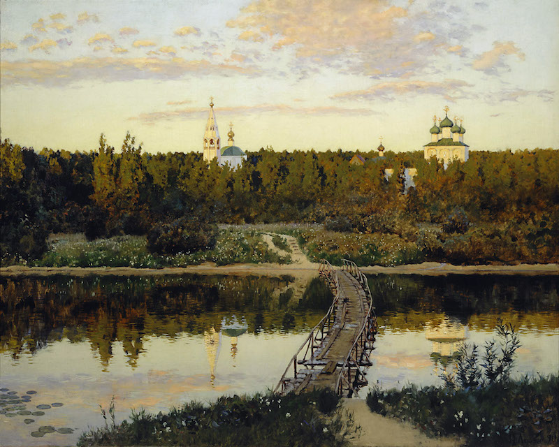 "Reproduction du tableau d'Isaak Levitan, ""le couvent serein"""