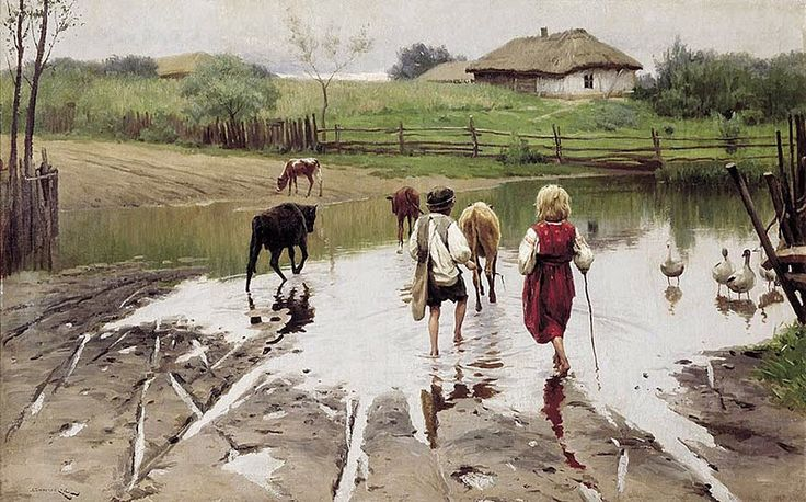 Reproduction du tableau de Nicolas Kornylovych Pymonenko (1862-1912),