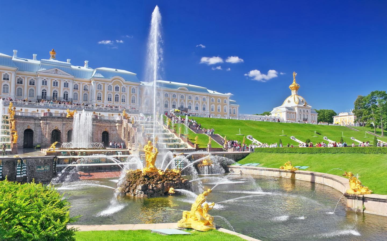 Peterhof grande cascade Петергоф Петродворец Большой каскад фонтаны Самсон - Stage de Russe à Saint-Pétersbourg, Niveau Elémentaire